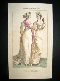 Lady's Magazine 1801 H/Col Regency Fashion Print. Paris Dress 11